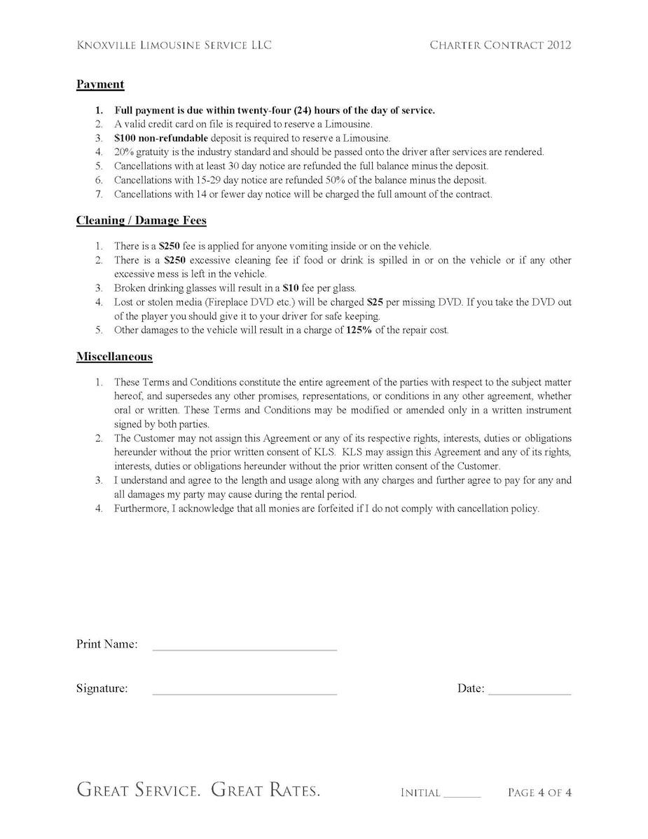 Limousine Charter Contract